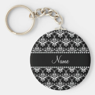 Damasco preto e branco conhecido personalizado chaveiros