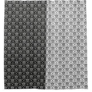 Damasco preto e branco dos opostos do espelho cortinas para chuveiro
