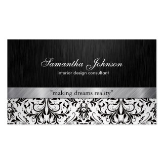 Damasco preto e branco elegante profissional cartões de visita