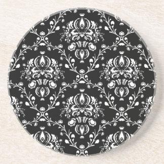 Damasco preto e branco porta copos de arenito