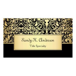 Damasco preto elegante do ouro do vintage cartão de visita
