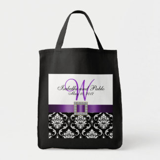 Damasco roxo, preto sacola Wedding personalizada Bolsas Para Compras