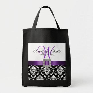 Damasco roxo, preto sacola Wedding personalizada Sacola Tote De Mercado