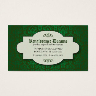 Damasco verde sumptuoso cartão de visitas