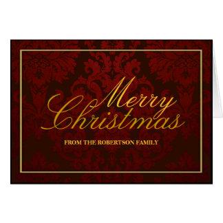 Damasco vermelho cartão de Natal personalizado