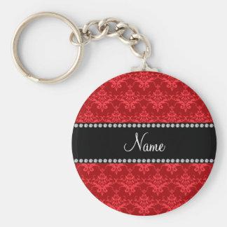 Damasco vermelho conhecido personalizado chaveiro