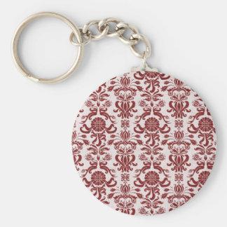 Damasco vermelho e branco do vintage chaveiro