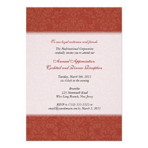 Damasco vermelho incorporado convites personalizados
