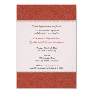 Damasco vermelho incorporado convite 12.7 x 17.78cm