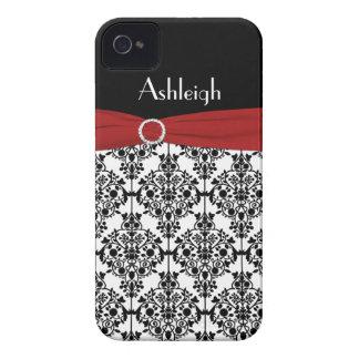 Damasco vermelho, preto, branco personalizado capa para iPhone
