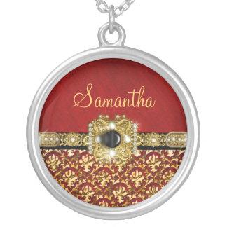 Damasco vermelho preto elegante brilhante colar