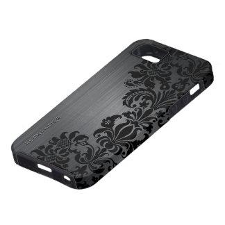 Damascos de alumínio & florais escovados metálicos capa tough para iPhone 5