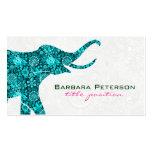 Damascos florais azuis do branco do elefante modelos cartao de visita