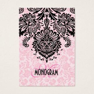Damascos florais pretos & cor-de-rosa elegantes cartão de visitas