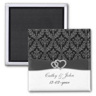damask diamante charcoal save the date refrigerator magnets