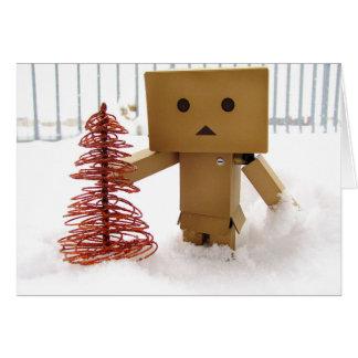 Danbo no cartão de Natal morno dos desejos da neve
