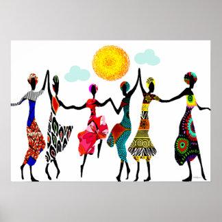 Dança africana do elogio pôster