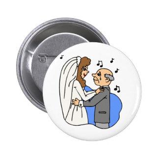 Dança da canção da recepção de casamento da filha bóton redondo 5.08cm