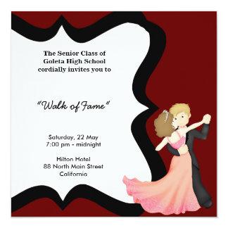 Dança da noite de baile de formatura convite quadrado 13.35 x 13.35cm