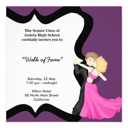 Dança da noite de baile de formatura convites personalizados