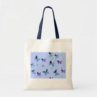 Dança das borboletas no verde azul sacola tote budget