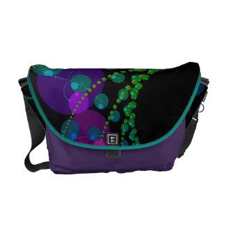 Dança das esferas II - violeta & cerceta cósmicas Bolsas Mensageiro