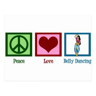 Dança de barriga do amor da paz cartão postal