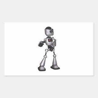 dança de intervalo mínimo da cara do robô da adesivos em formato retangulares