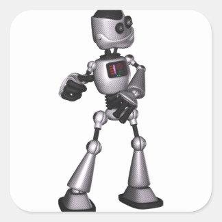 dança de intervalo mínimo da cara do robô da adesivo quadrado