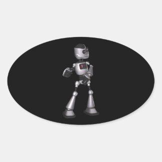 dança de intervalo mínimo da cara do robô da adesivo oval