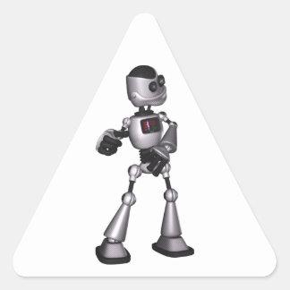 dança de intervalo mínimo da cara do robô da adesivo em forma de triângulo