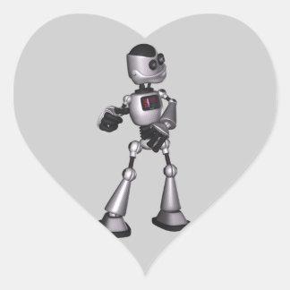 dança de intervalo mínimo da cara do robô da adesivo de coração