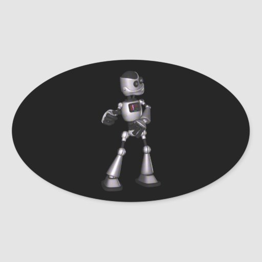 dança de intervalo mínimo da cara do robô da adesivos em formato ovais
