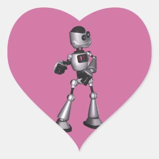 dança de intervalo mínimo da cara do robô da adesivo em forma de coração