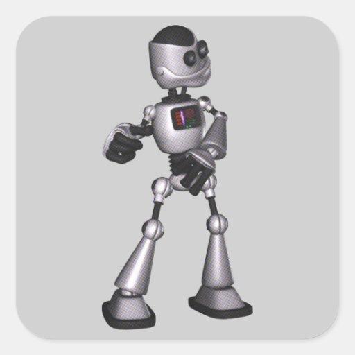 dança de intervalo mínimo da cara do robô da adesivos quadrados
