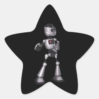 dança de intervalo mínimo da cara do robô da ficçã adesivos em forma de estrelas