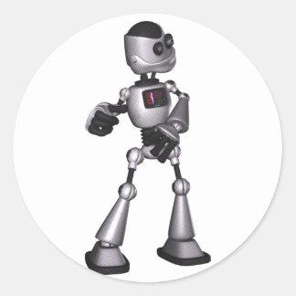 dança de intervalo mínimo da cara do robô da ficçã adesivos em formato redondos