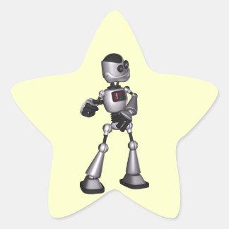 dança de intervalo mínimo da cara do robô da ficçã adesivo estrela
