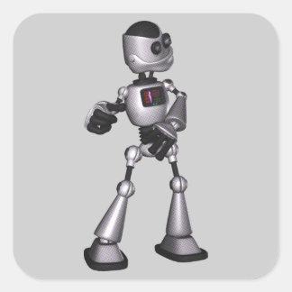 dança de intervalo mínimo da cara do robô da ficçã adesivos quadrados