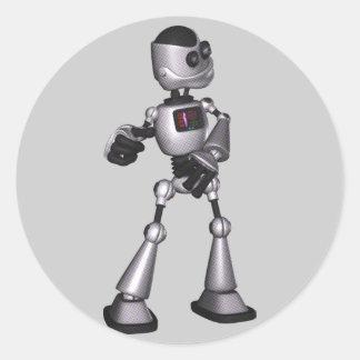 dança de intervalo mínimo da cara do robô da ficçã adesivo em formato redondo