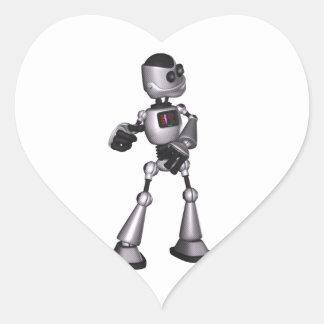 dança de intervalo mínimo da cara do robô da ficçã adesivo de coração