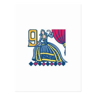 Dança de nove senhoras cartões postais