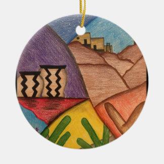 Dança do deserto ornamento de cerâmica redondo