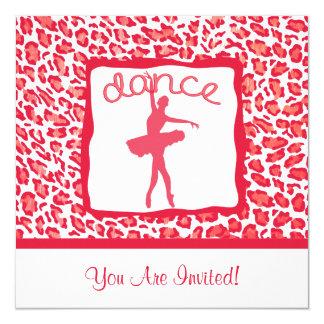 Dança do impressão da chita em convites vermelhos convite quadrado 13.35 x 13.35cm