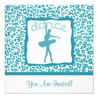 Dança do impressão da chita no convite de turquesa convite quadrado 13.35 x 13.35cm