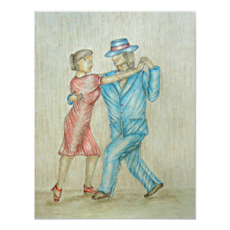 dança do tango convite 10.79 x 13.97cm