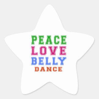 Dança do ventre do amor da paz adesivos em forma de estrelas