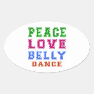Dança do ventre do amor da paz adesivos em formato oval