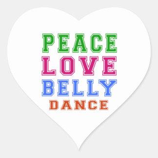 Dança do ventre do amor da paz adesivo em forma de coração