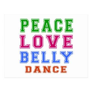 Dança do ventre do amor da paz cartões postais